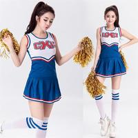 Popular Blue Women Sexy Cheerleading Uniform Performance Apparels Bar Show Rooters Football Babes Girls Dancing Party