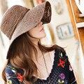 2016 Новый Женщины Вс Hat Летний Пляж Cap Соломенная Шляпка Широкий Большой Брим Складной Шляпу