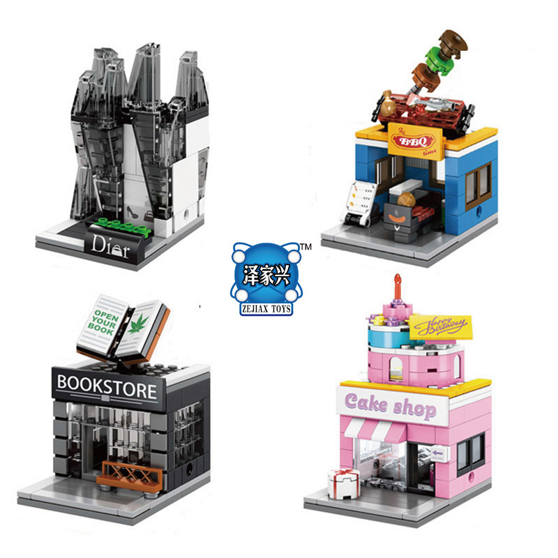 2017 New Mini Stree View Building Blocks Sembo Block Baby Toys Book Store BBQ Cake Backery Xmas Gift Compatible Lepins Figures hot sembo block compatible lepin architecture city building blocks led light bricks apple flagship store toys for children gift