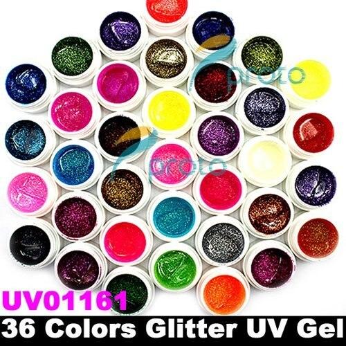 SINGAPORE Post Mail Freeshipping-36 Colors Glitter Powder UV Gel for UV Nail Art Tips Extension Decoration SKU:C0002