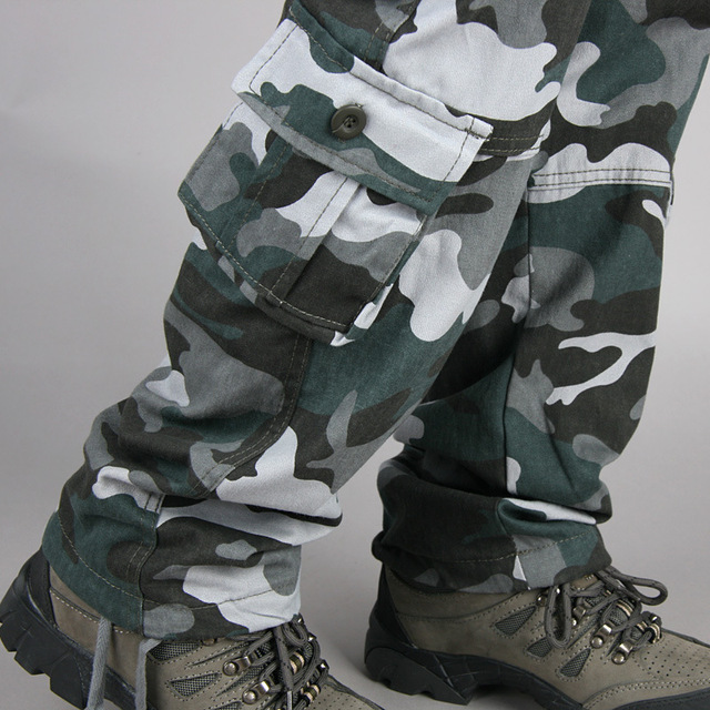 Pocket MILITARY Style Army Camouflage CARGO PANTS Men TACTICAL 6789cmAirborne Jeans Trouser Male Casual Plus Size Cotton baggy#3 5