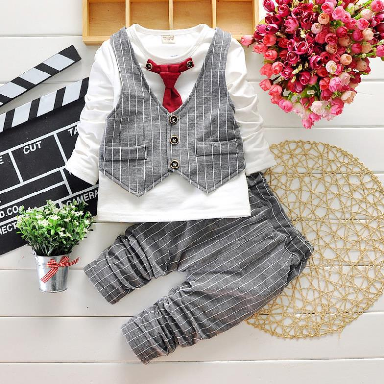 HTB1Bw5kXfjsK1Rjy1Xaq6zispXah - 2017 Boys Spring Two Fake Clothing Sets Kids Boys Button Letter Bow Suit Sets Children Jacket + Pants 2 pcs Clothing Set Baby