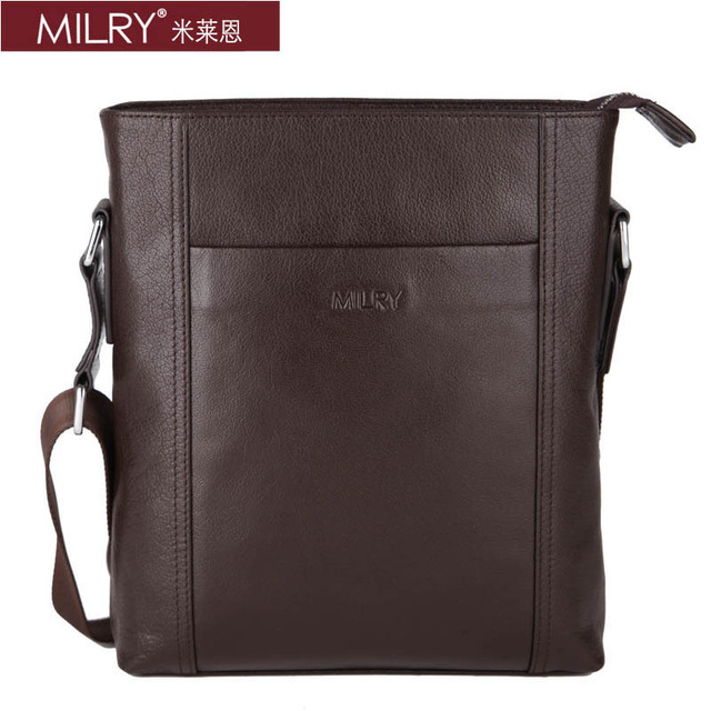 2013 Fashion Brand New MILRY 100% Genuine Leather shoulder bag for men Messenger Bag Free Shipping gift coffe s0136-2