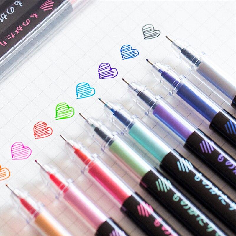 Coloffice Creative Color Pen Children Handbook Supplies Gel Pen Small Fresh Black Needle Cap Hat Handwritten Pen 0.5mm 1PC/1Box