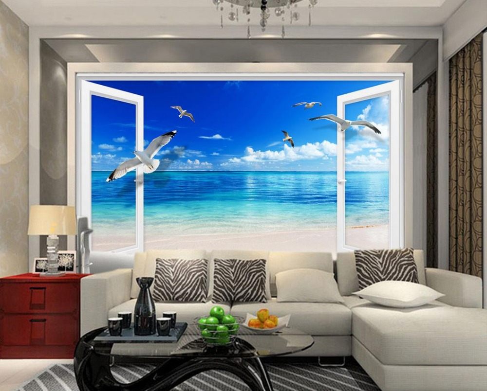 Mural 3d Wallpaper 3d Wall Papers For Tv Backdrop Blue Sky Window