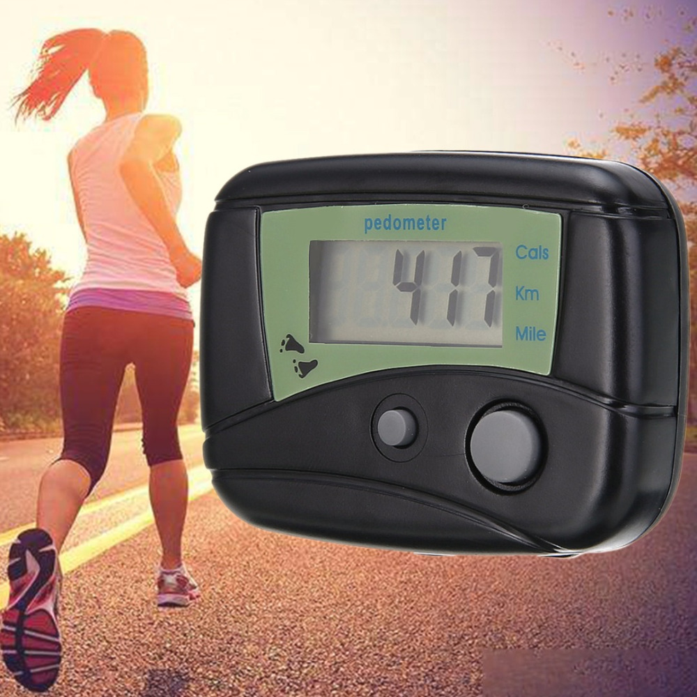 MAYITR Running Pedometer Mini Electronic Digital LCD Pedometer Jogging Step Walking Distance Calorie Counter Passometer Black