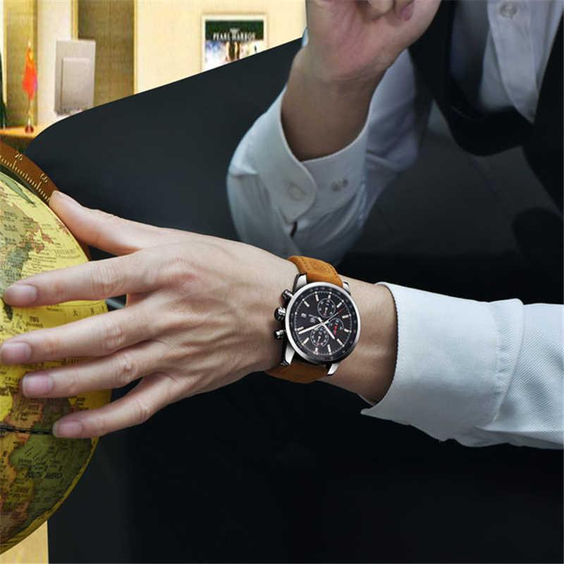 BENYAR מותג ספורט גברים שעונים למעלה מותג יוקרה זכר עור עמיד למים הכרונוגרף קוורץ צבאי שעון יד גברים שעון saat
