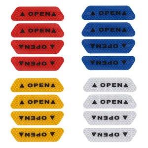 Image 2 - 4 adet DIY dış uyarı Sticker kapı güvenliği yansıtıcı uyarı çıkartmalar araba çıkartması 4 renk güvenlik işareti araba dış çıkartmalar