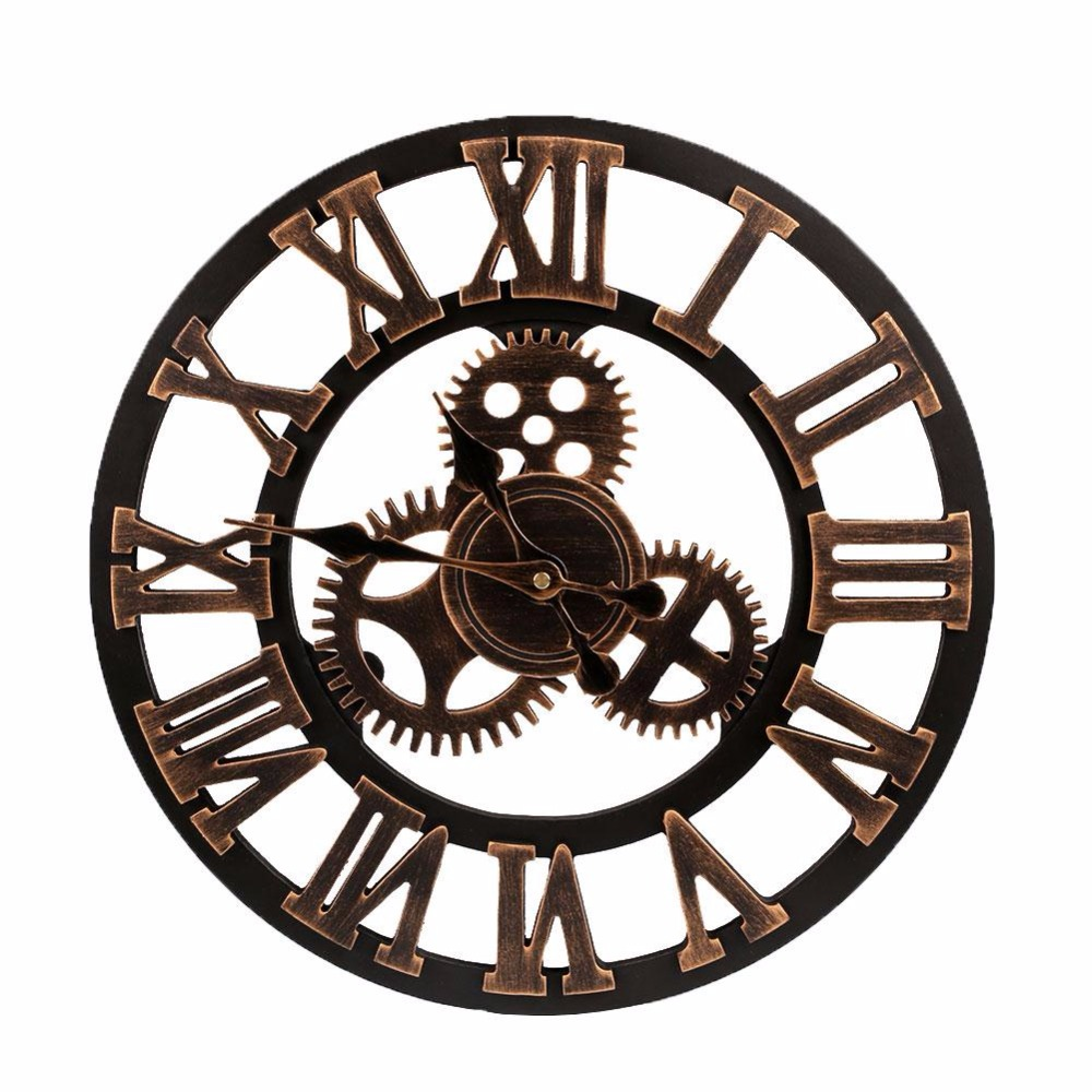 Buy 2017 big clock wooden nature gears for Maison du monde porte manteau mural