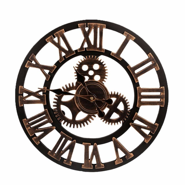2017 Big Clock Wooden Nature Gears Wall Clock Retro Clock Wall Hanging  Watches Living Room Decorative Part 60