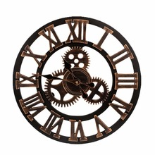 2017 Big Clock Wooden Nature Gears Wall Clock Retro Clock Wall Hanging Watches Living Room Decorative Reloj Pared Wanduhr