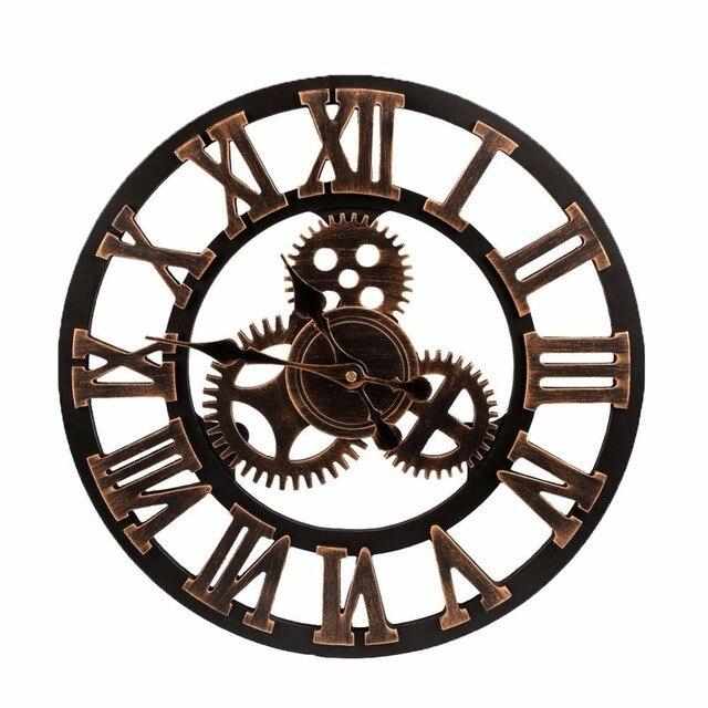 2017 Große Uhr Holz Natur Getriebe Wanduhr Retro Uhr Wand Hängen Uhren  Wohnzimmer Dekorative Reloj Pared