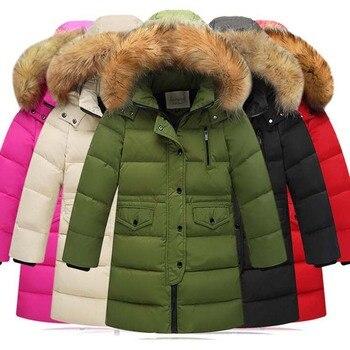 -35 degree winter fur collar Children's down jacket white Duck Down Jackets casual long boys cotton coats quality girls ski coat