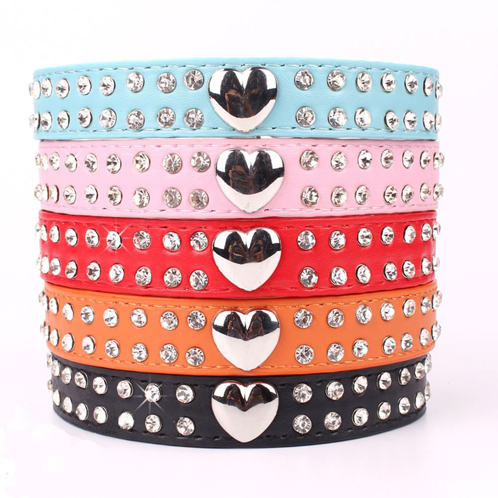 Sweet Heart Bling 2 Rows Rhinestone Soft PU Leather Dog Collars For Pet Puppy Size XXS XS S M For Neck 6-15 Inch