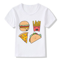 Children Fast Food Good Friends Design Funny T-shirt Baby Kids Summer Short Sleeve Tops Tees Boys/Girls Casual Clothes,HKP2053