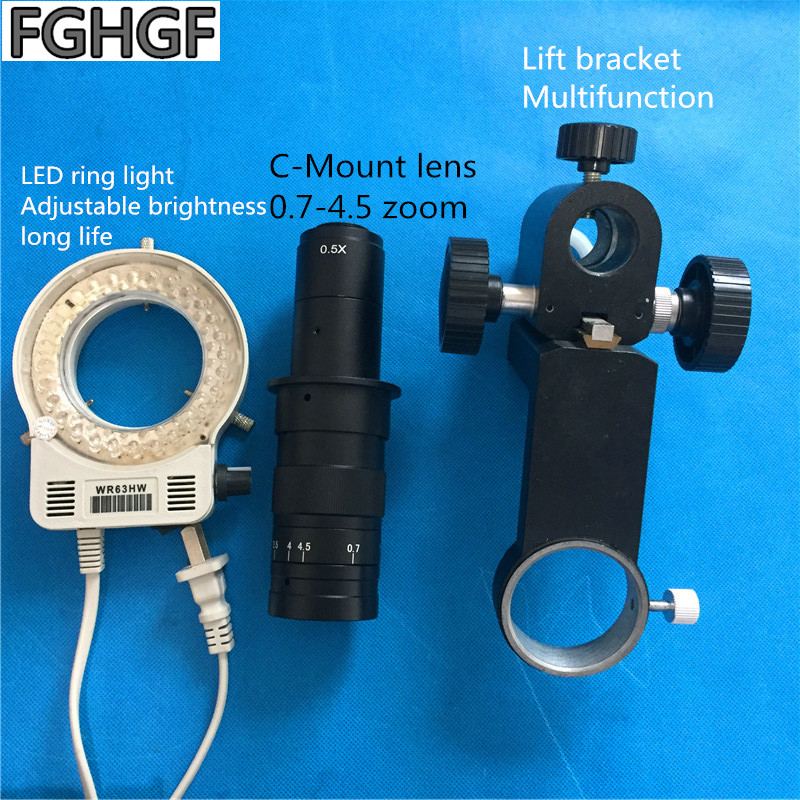 C-Mount lens 0.7-4.5x zoom lens With LED ring light Lifting bracket PCB soldering semiconductor Carbon steel chemical fiberC-Mount lens 0.7-4.5x zoom lens With LED ring light Lifting bracket PCB soldering semiconductor Carbon steel chemical fiber
