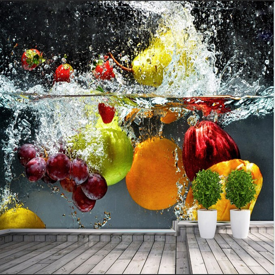 Custom any size kitchen 3d wallpaper fruit and vegetables for Kitchen wallpaper 3d