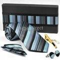 Novo empate definir TIE + lenço + punho + tiebar gravata abotoaduras gravatas, Botão manguito 11ets / lot # 010