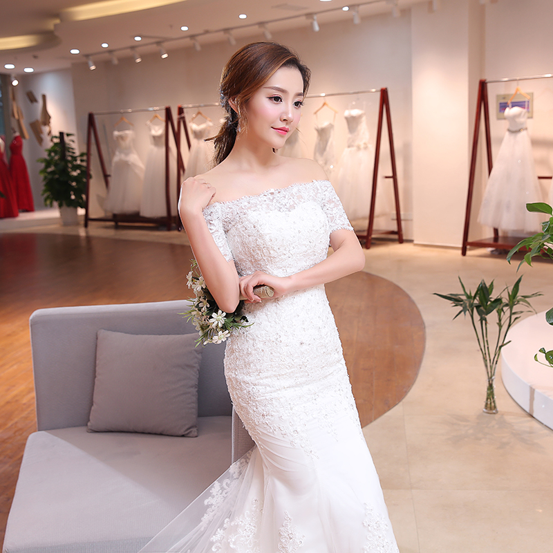 Image 5 - Luxury Sexy Mermaid Train Lace Appliques Half Sleeve Wedding Dress 2018 New Fashion Korean Style A line bride Vestido De Noiva-in Wedding Dresses from Weddings & Events