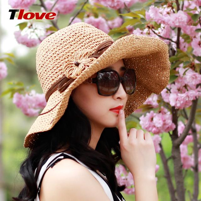 2016 Nueva Señora Del Verano Sombrero de Paja Femenina de Corea Marea Tejer el Casquillo de Ala Ancha de paja Casquillo Del Sol de Verano Playa Sombrero B-3143