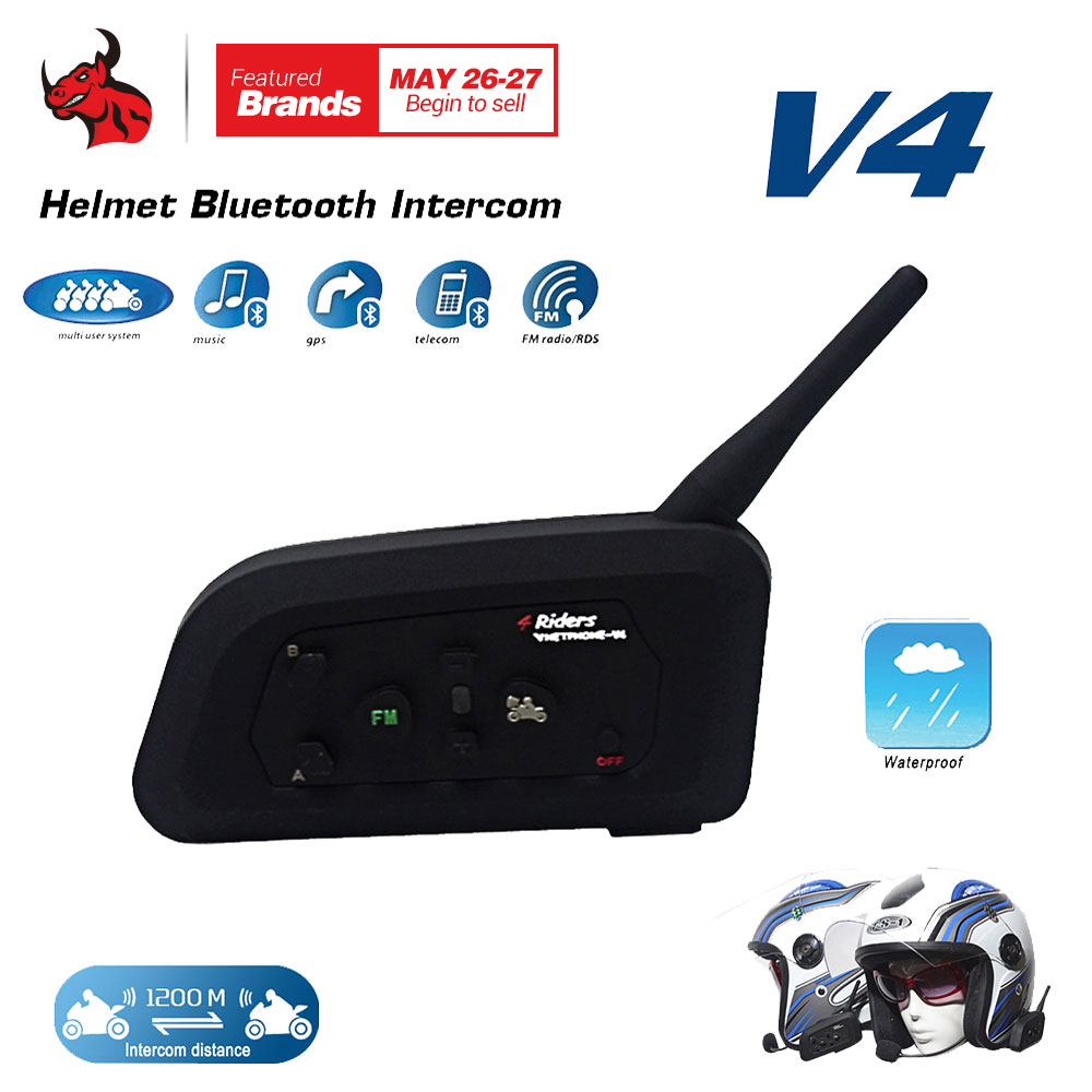 VNETPHONE 1200M BT Motorcycle Helmet Bluetooth Headset Interphone 4 Riders Fully Duplex Wireless Communication Intercom vnetphone v8 1200m bluetooth intercom motorcycle helmet interphone headset nfc remote control full duplex fm including one mask