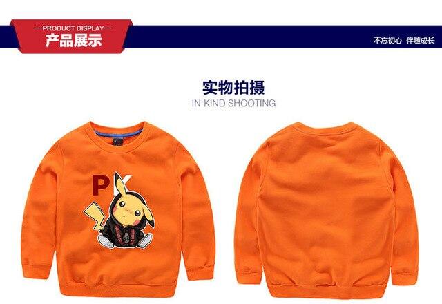 Свитер 2016 осень мультфильм Пикачу свитер для мальчиков девушки дети футболка детская одежда для 3-9 Т