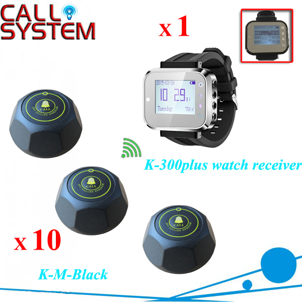 1 watch pager 10 table buzzer bell Digital paging button system service call bell pager system 4pcs of wrist watch receiver and 20pcs table buzzer button with single key
