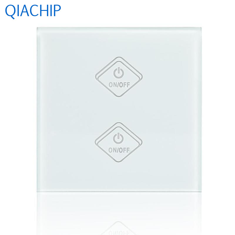 UK Standard WiFi Smart Switch 2 Gang Luxury White Tempered Glass Panel Wall Switch Kitchen  Room APP Remote Control Touch Button smart home eu touch switch wireless remote control wall touch switch 3 gang 1 way white crystal glass panel waterproof power