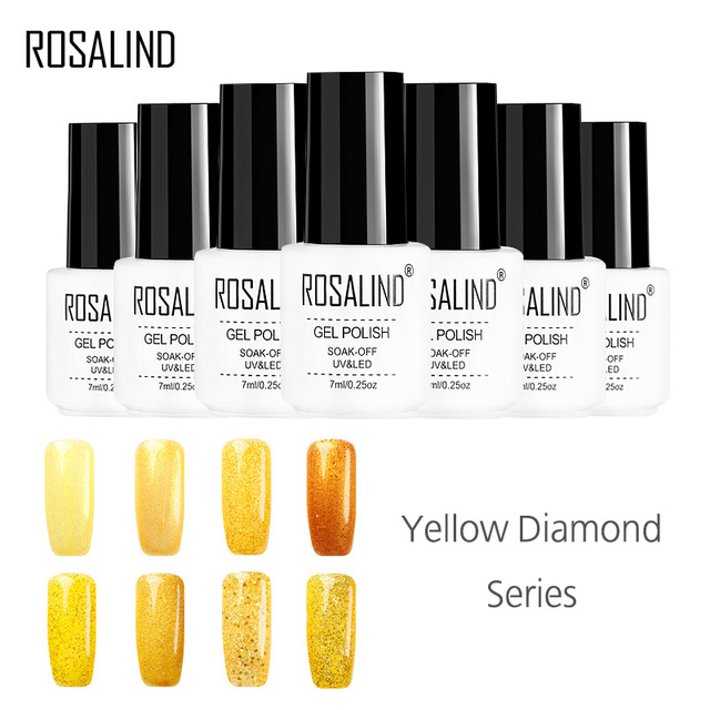 ROSALIND Gel 1S White Bottle 7ML Yellow Color Diamond Glitter Gel Nail Polish Soak Off Long Lasting UV LED Nail Gel Lacquer