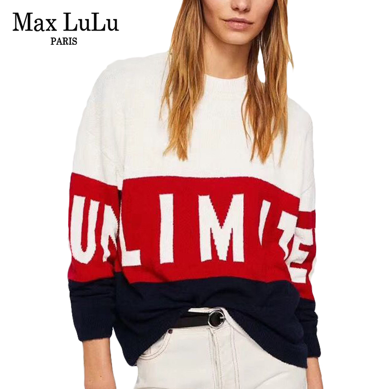 Max LuLu Fashion European Brand Designer Crop Top Ladies Patchwork Pullovers Womens Winter Sweater Harajuku Jumper Woman Clothes