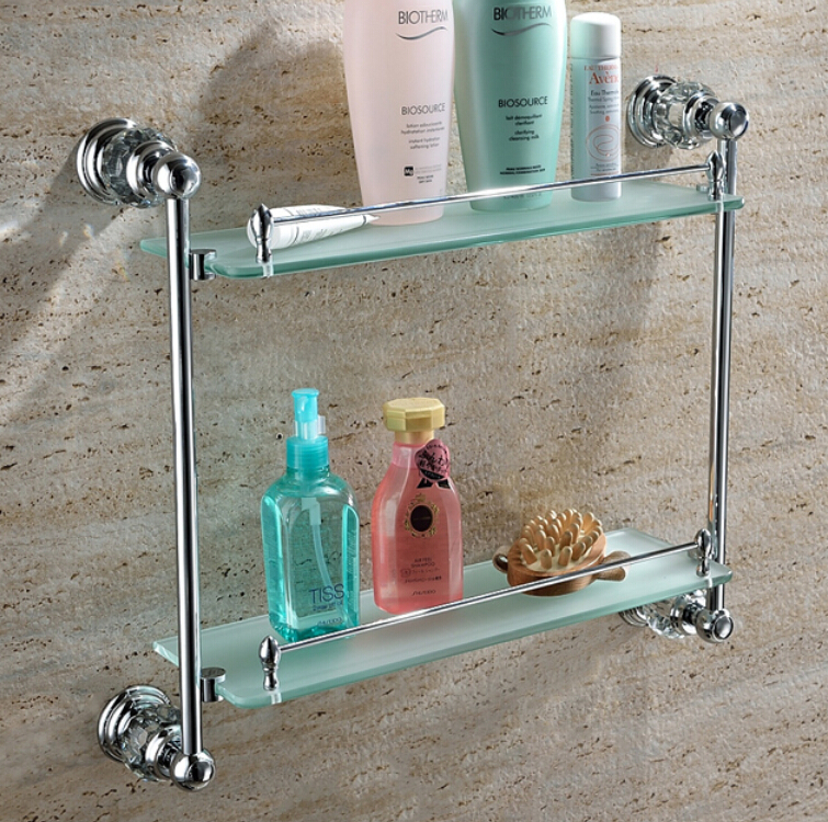 Free shiping Crystal & Brass chrome Bathroom shelf double shelf Pure copper&glass,bathroom hardware GY018 free shiping crystal