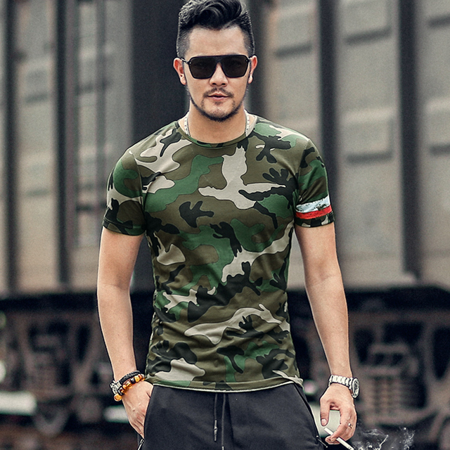bd2e60c1 Men Summer Wear New Cotton Short Sleeve Army Green T-shirt Male Camouflage  Printed Casual Round Neck Slim Fashion Top Tees T876