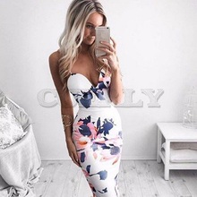 Cuerly Fashion Women Bandage Bodycon Sleeveless Evening Sexy Party Mini Dress Printed Braces White Dress charming red floral printed sleeveless bodycon mini dress for women