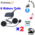2016 2 PCS V6 1200 M Helmet Intercom Full Duplex Two-way Walkie Talkie Capacete Da Motocicleta Do Bluetooth Interfone Headset BT Interfone