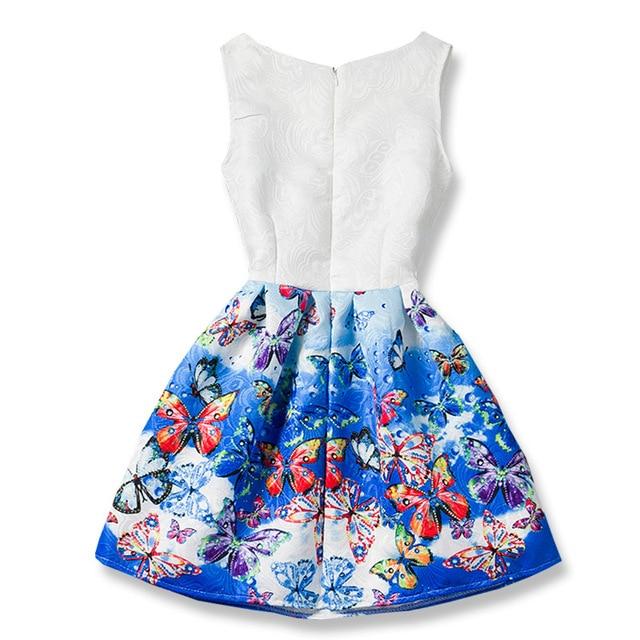 2018 Summer Girls Dresses Elsa Dress Anna Princess Party Dress For Girls Vestidos Teenagers Butterfly Print Baby Girl Clothes 2