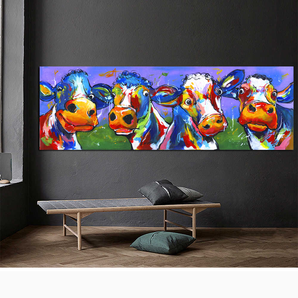 HDARTISAN Wall Art Decor Print Abstract Pictures Cute Cow Canvas Poster Print Home Decor Oil Painting for Living Room