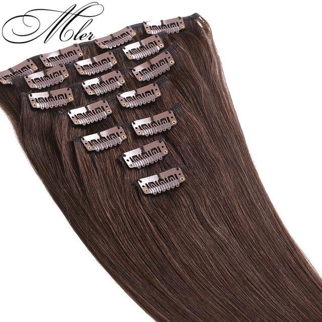 Venta caliente 7 unids/set 6A Remy virginal brasileña del pelo Clip en extensión recta del pelo humano Clip en el #4 70 g Remy pelo de la virgen