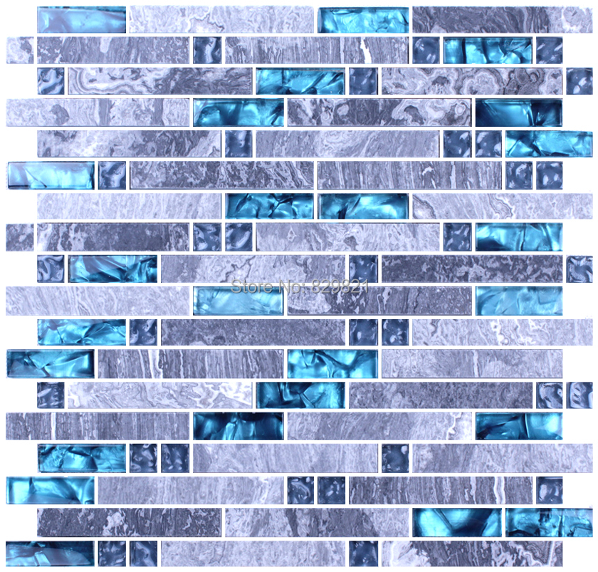 Blue Glass Mosaic Tile Mixed Grey Stone Mosaic For Kitchen