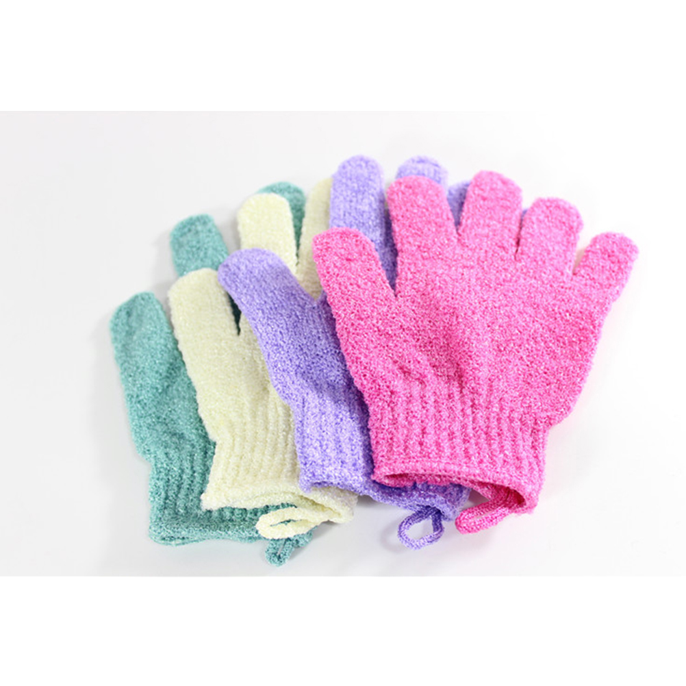1 Pair Five Fingers Body Scrub Gloves Bath Exfoliating Glove Bath Shower Sauna Scrubber Mitt For Men Women