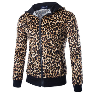 2019 wiosna jesień męska kurtka na co dzień kurtka z kapturem mężczyzn Leopard wydrukowano Slim Fit męskie kurtki i płaszcze Zipper Leopard płaszcze