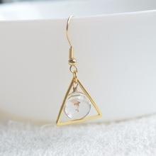 a Pair Dolphin Glass Triangle Geometry Long Copper Drop Earrings For Women Vintage Fashion Jewelry Korean Bohemian Cute Love
