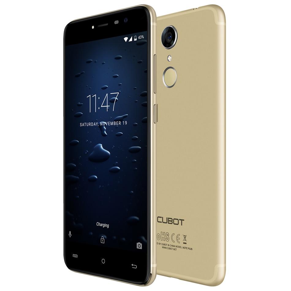 Cubot Note плюс 5,2 дюймов FHD Смартфон 4 ядра 3 ГБ + 32 ГБ Встроенная память Cam 16MP Android 7,0 назад отпечатков пальцев ID 2800 мАч мобильного телефона