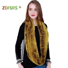 ZDFURS Women Infinity fur scarf Circle long rabbit fur scarf winter warm street fashion
