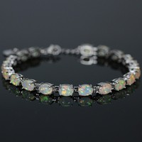 SZ0010 New Trendy Elegant White Fire Opal Bracelets For Women Silver Plated Bracelets & Bangles Wedding Jewelry Gift