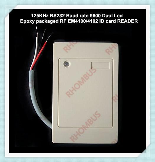 !New UART RFID 125Khz RS232 serial COM port Baud Rate 9600 dual Led 12V epoxy packaged EM4100/4102 ID card READER esp 07 esp8266 uart serial to wifi wireless module