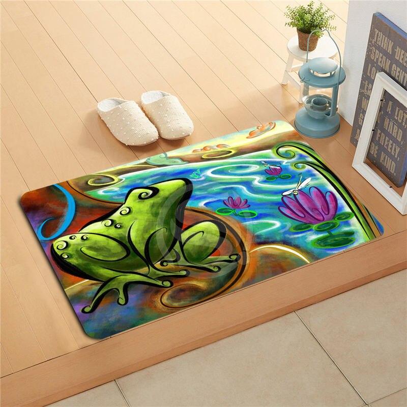 7.4#1 Free Shipping Custom frog Doormat Art Design Pattern Printed Floor Hall Bedroom Cool - Popular Frog Bath Rug-Buy Cheap Frog Bath Rug Lots From China Frog