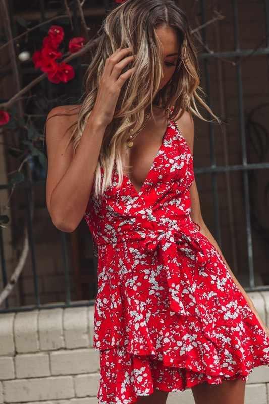 Женское платье с цветочным принтом, женское сексуальное платье без рукавов с v-образным вырезом, женское платье 2019 Smmer, новое винтажное платье Vestidos de festa, мини платье с поясом