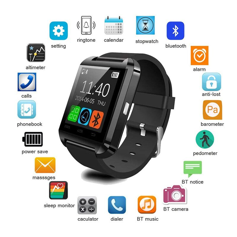 Sports Smartwatch Bluetooth Smart Watch For IPhone IOS Android Smart Phone Wear Clock Wearable Device Smartwach U8 PK GT08 DZ09