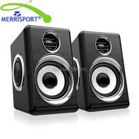 MERRISPORT Computer Speakers USB Multimedia Audio Speakers for Laptop PC Phone Mp3/4 Players Mini Loudspeaker Black Silver/Gold