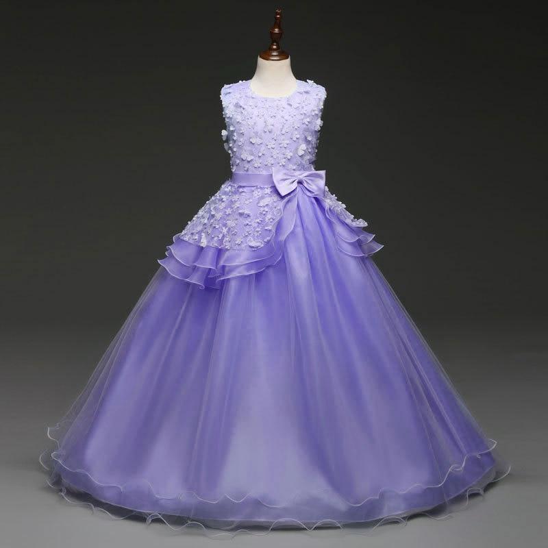 Meninas vestidos para casamentos outono 2018 vestido de festa longo traje para crianças vestidos de formatura vestido de festa longa infantil